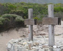 Two crosses on the beach