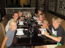 The grandchildren eating Chinese