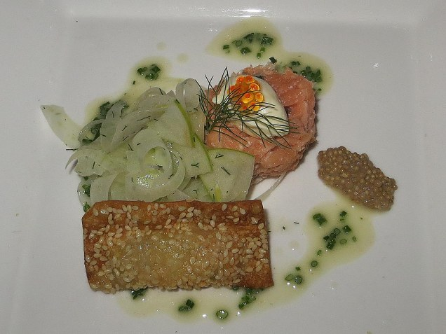 Salmon and prawn dish