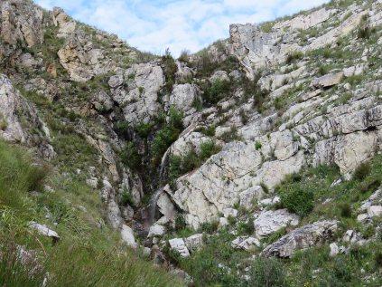 A waterfall along the path