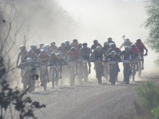 The leading group of cyclists