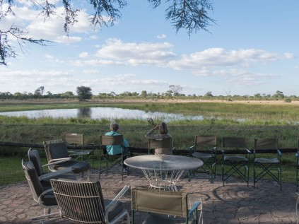 At Ganda lodge overlooking the waterhole