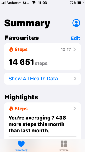 My steps, as recorded on my phone